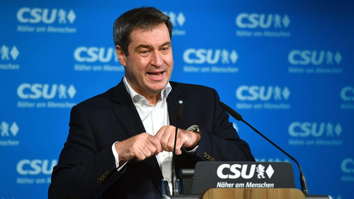 Markus Söder, CSU-Chef und bayerischer Ministerpräsident, bei einer Pressekonferenz am 07.12.20.