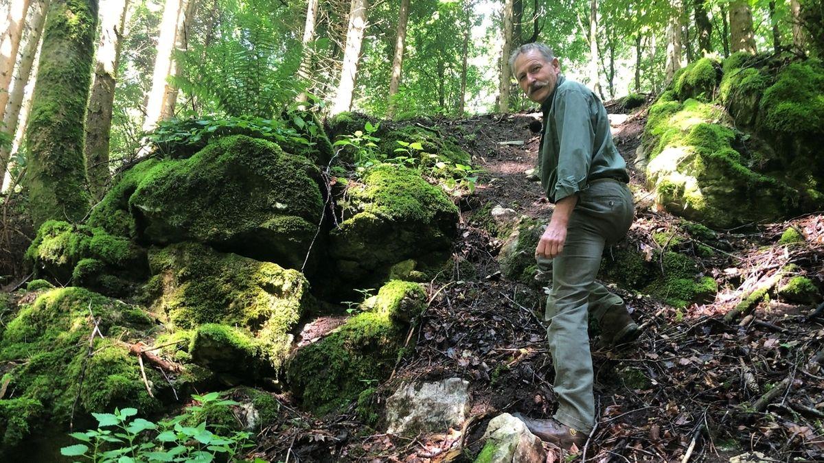 Förster Rainer Wannenwetsch an einem bei Motocrossfahrern beliebten Hang im Wald bei Wolferstadt.