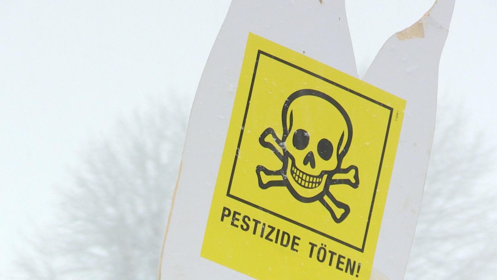 """Schild mit Totenkopf und Schrift """"Pestizide töten"""" auf der """"Wir haben es satt""""-Demo in Passau"""