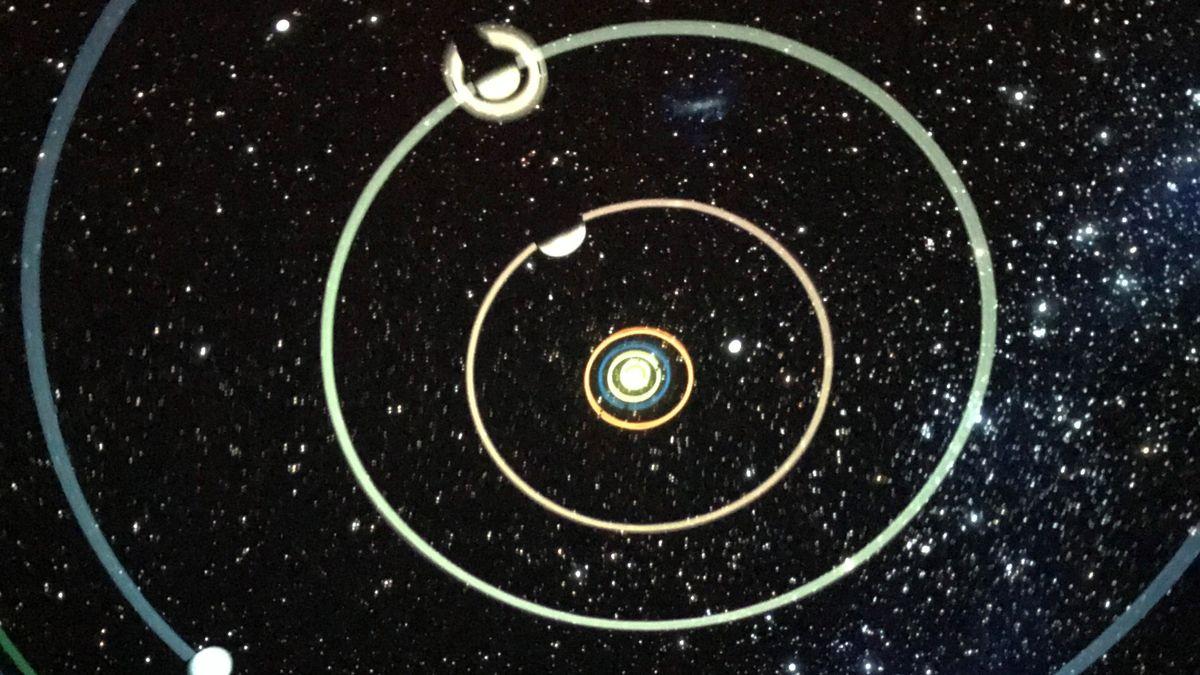 Saturn und Jupiter schieben sich voreinander