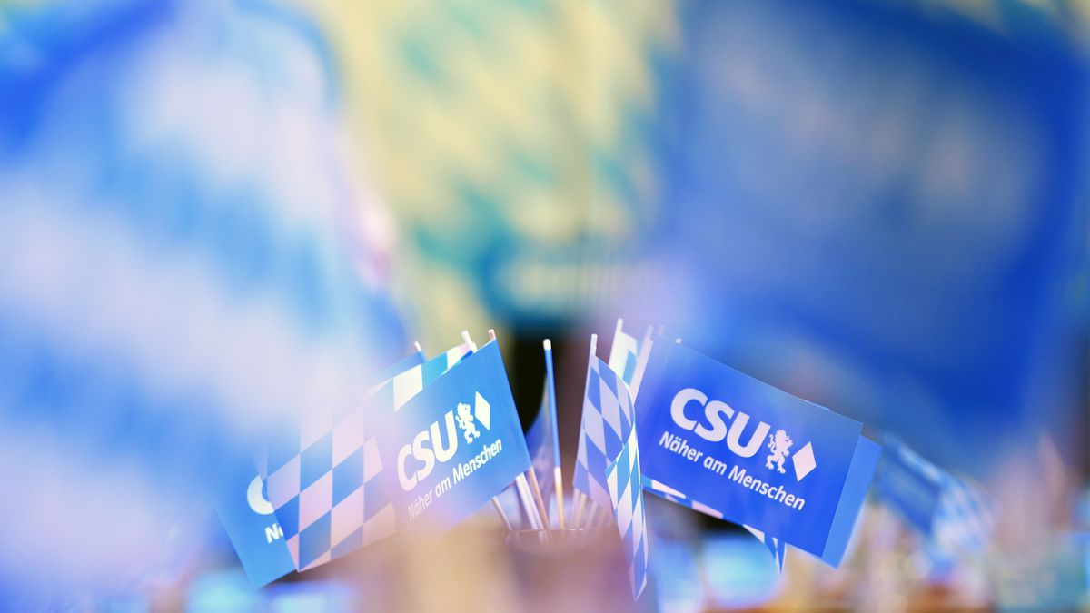 Symbolbild: CSU-Fähnchen beim Politischen Aschermittwoch