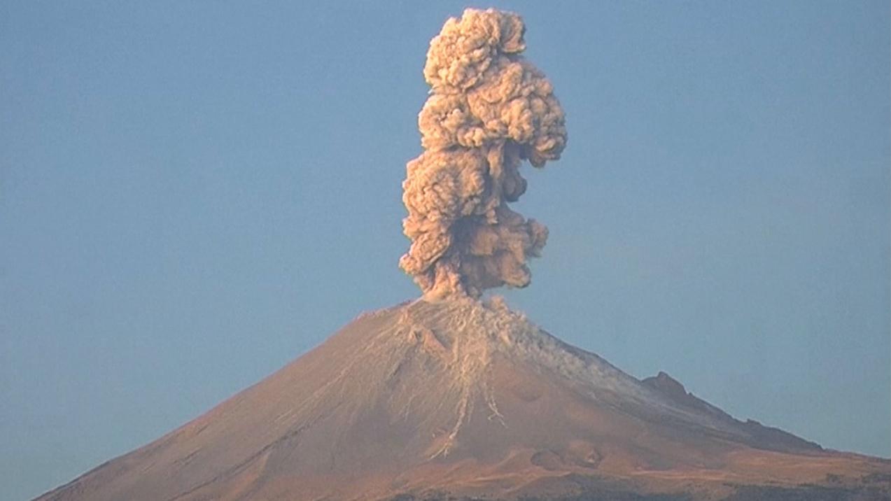 Eruption am Popocatépetl