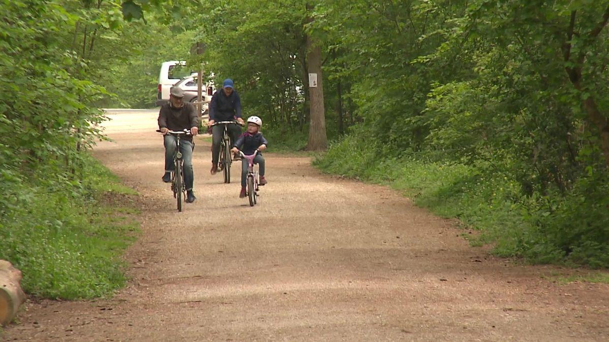 Opa, Sohn und Enkelkinder unternehmen gemeinsam eine Radtour im Wald bei Erlangen.