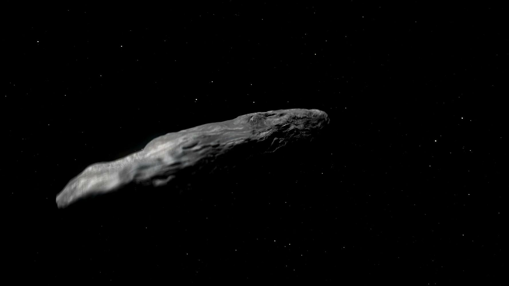 Illustration und Animation des interstellaren Asteroiden 'Oumuamua