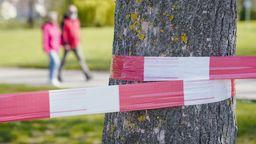 Fußgänger gehen hinter einem Baum vorbei, um den Absperrband gewickelt ist.  | Bild:dpa-Bildfunk/Uwe Anspach