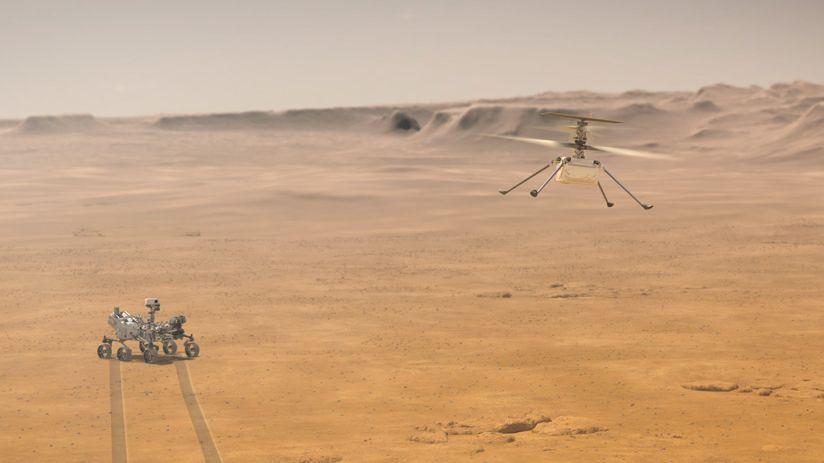 Mars-Rover Perseverance unterstützt den Mars-Hubschrauber Ingenuity (Illustration)