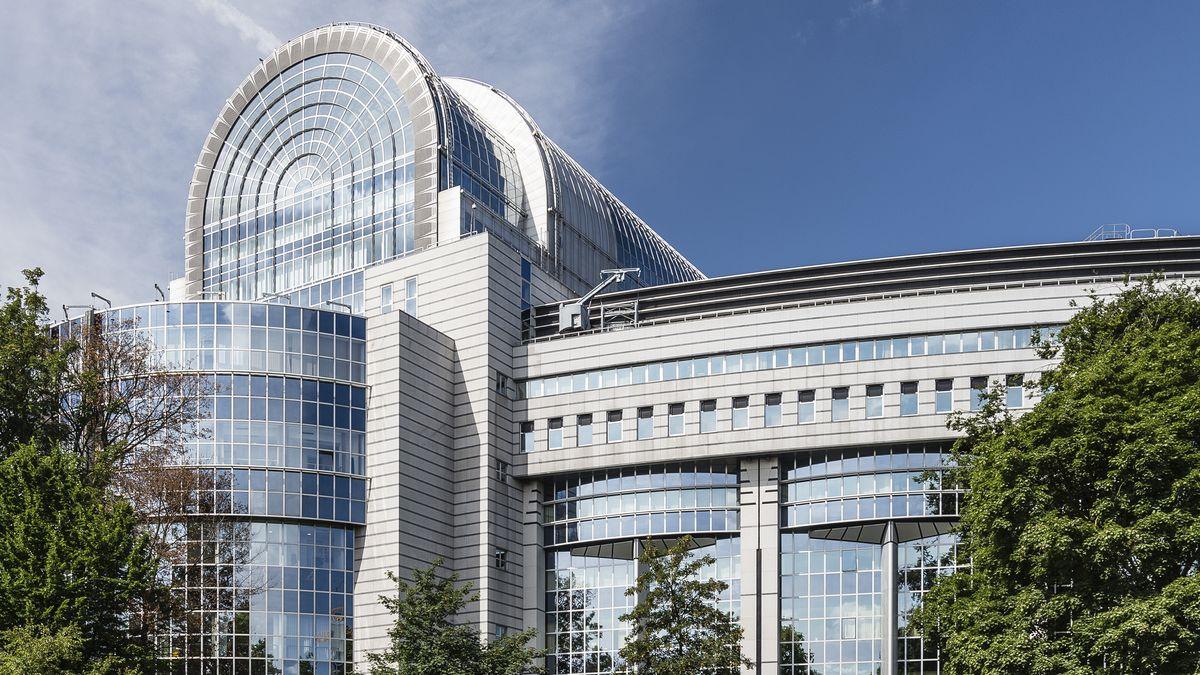 Das Gebäude des Europäischen Parlaments in Brüssel, Belgien.