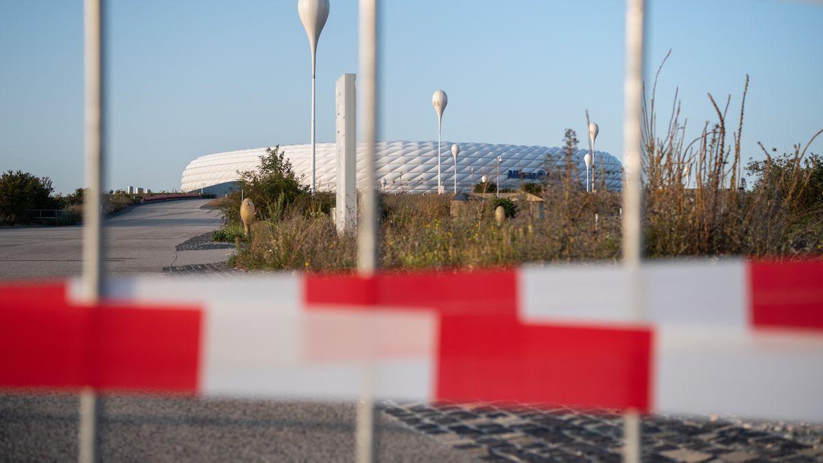Absperrband an der Allianz Arena