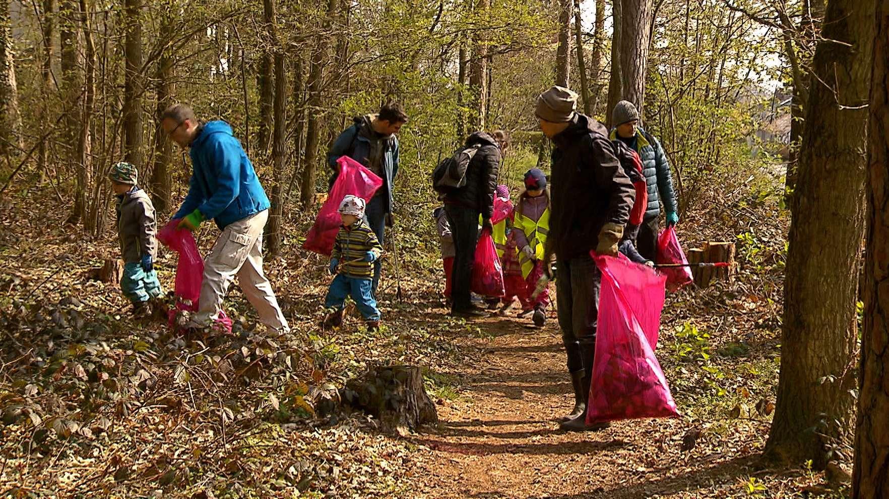 Freiwillige beim Aufräumen im Wald