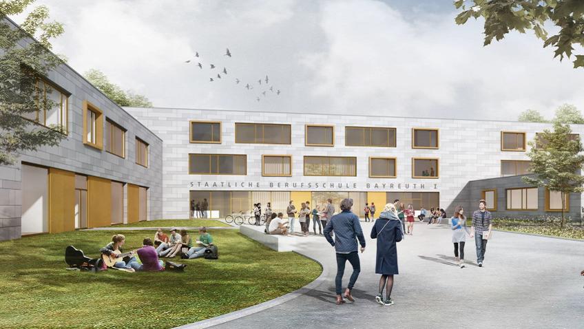 Das Modell der neuen Berufsschule zeigt mehrere Flachbauten, deren Fassaden durch große Fenster durchbrochen ist , davor sitzen auf einer Wiese Schülerinnen und Schüler.