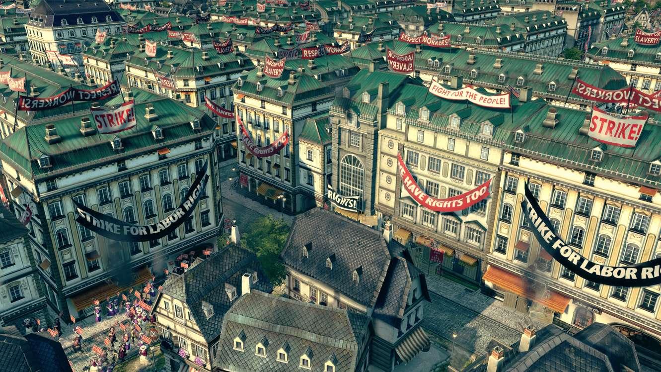 """Wohnhäuser in einer Anno 1800 Siedlung. Überall hängen Banner wie """"Strike for laboir right"""" oder """"We have rights too"""". Auf den Straßen protestieren Arbeiter."""