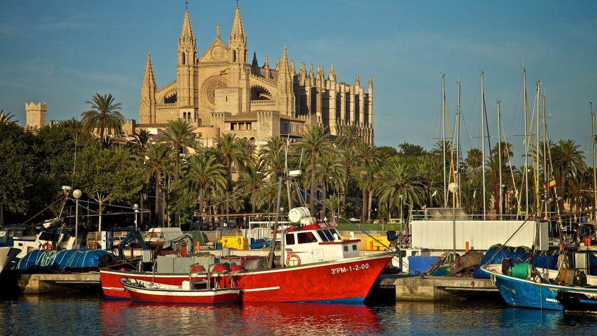 Boote liegen im Hafen vor der Kathedrale in Palma de Mallorca