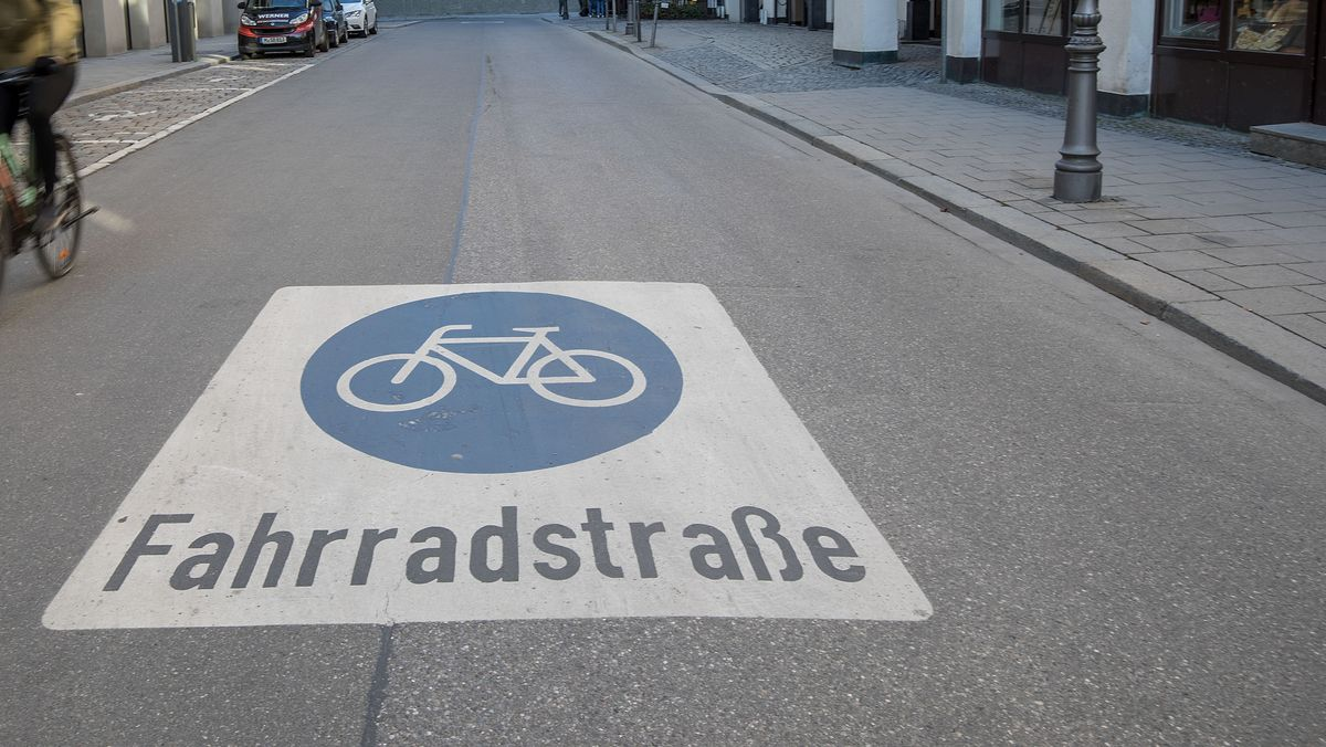 Eine Fahrradstraße in München