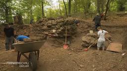 In einem Grabungsfeld im Wald graben mehrere Personen um die Fundamente einer Burg   Bild:BR