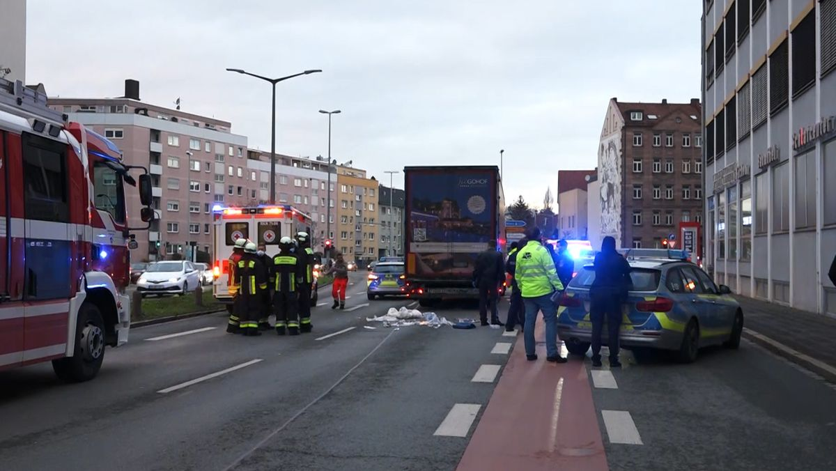 Unfallstelle in der Welserstraße in Nürnberg.
