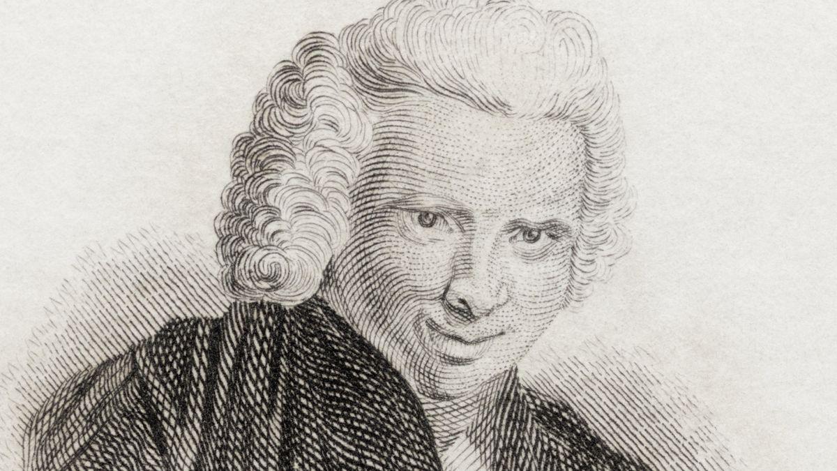 Historische Abbildung des englischen Schriftstellers Laurence Sterne, angefertigt nach einem der seltenen Porträts, die zu seinen Lebzeiten entstanden sind.