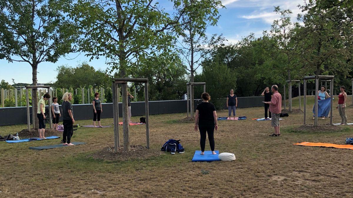 Der Yoga-Kurs im Obstgarten des Landesgartenschaugeländes.