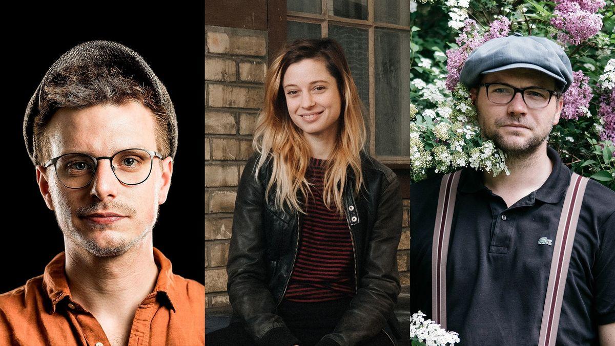 Drei Porträts nebeneinander: Moritz Neumeier, Lara Stoll, Thomas Stipsits (Preisträger und Preisträgerin des Salzburger Stiers 2021)