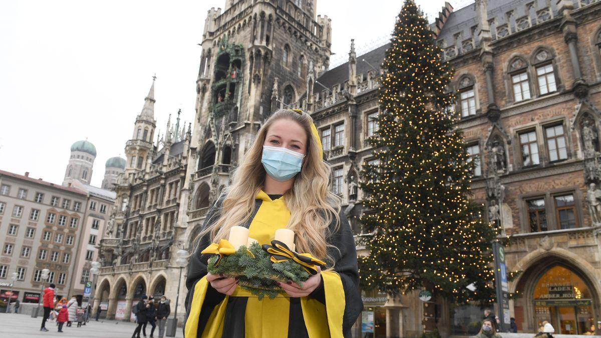 Erstes Adventswochenende: Der Münchner Christbaum und das Münchner Kindl.