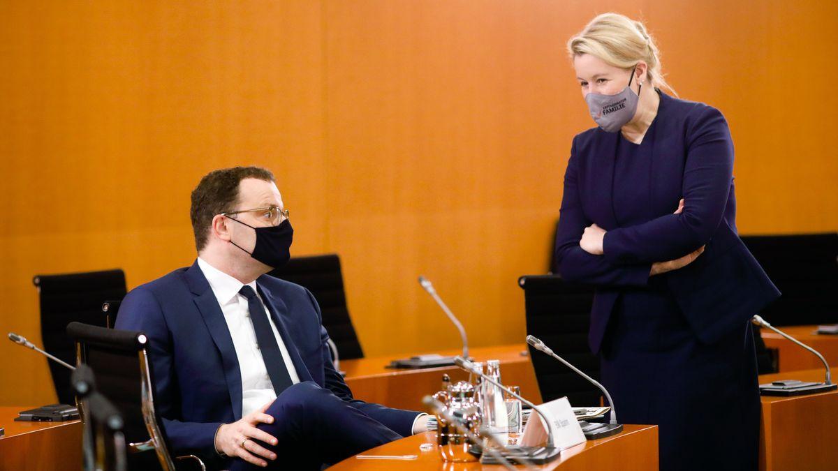 Jens Spahn und Franziska Giffey auf der Sitzung am 21. 10. 2020