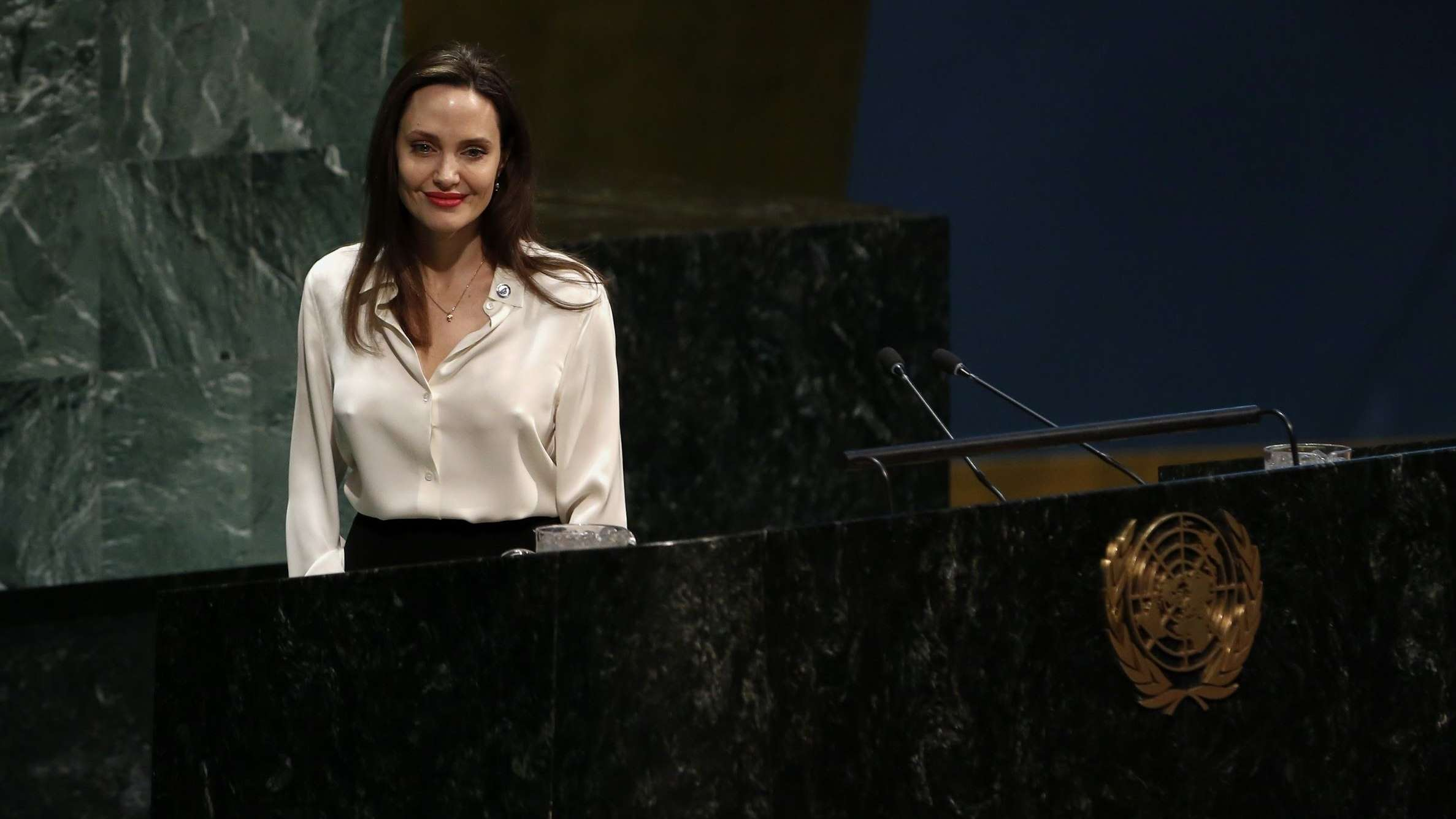 Angelina Jolie bei einer Rede vor dem UN-Plenum