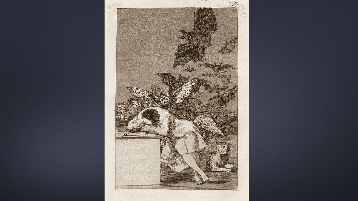 Ein schlafender Mann im Gehrock lehnnt auf einem Stein und über ihm fliegen große Fledermäuse