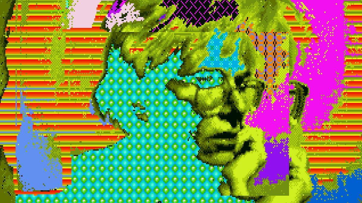 Bild des Künstlers in schrillen Farben