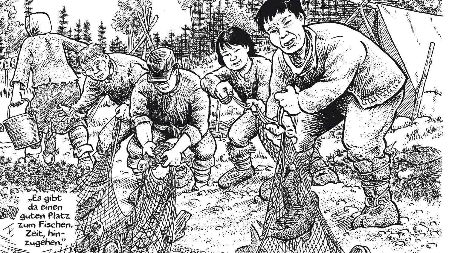 """Ausschnitt aus einer Seite aus Joe Saccos Comic-Reportage """"Wir gehören dem Land"""" über die Dene in den kanadischen Nord-West-Territorien. Ursprünglich waren die Indigenen Nomaden und ernährten sich unter anderem vom Fischfang."""