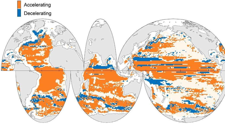 Beschleunigung (orange) und Verlangsamung (blau) der Ozeanzirkulation