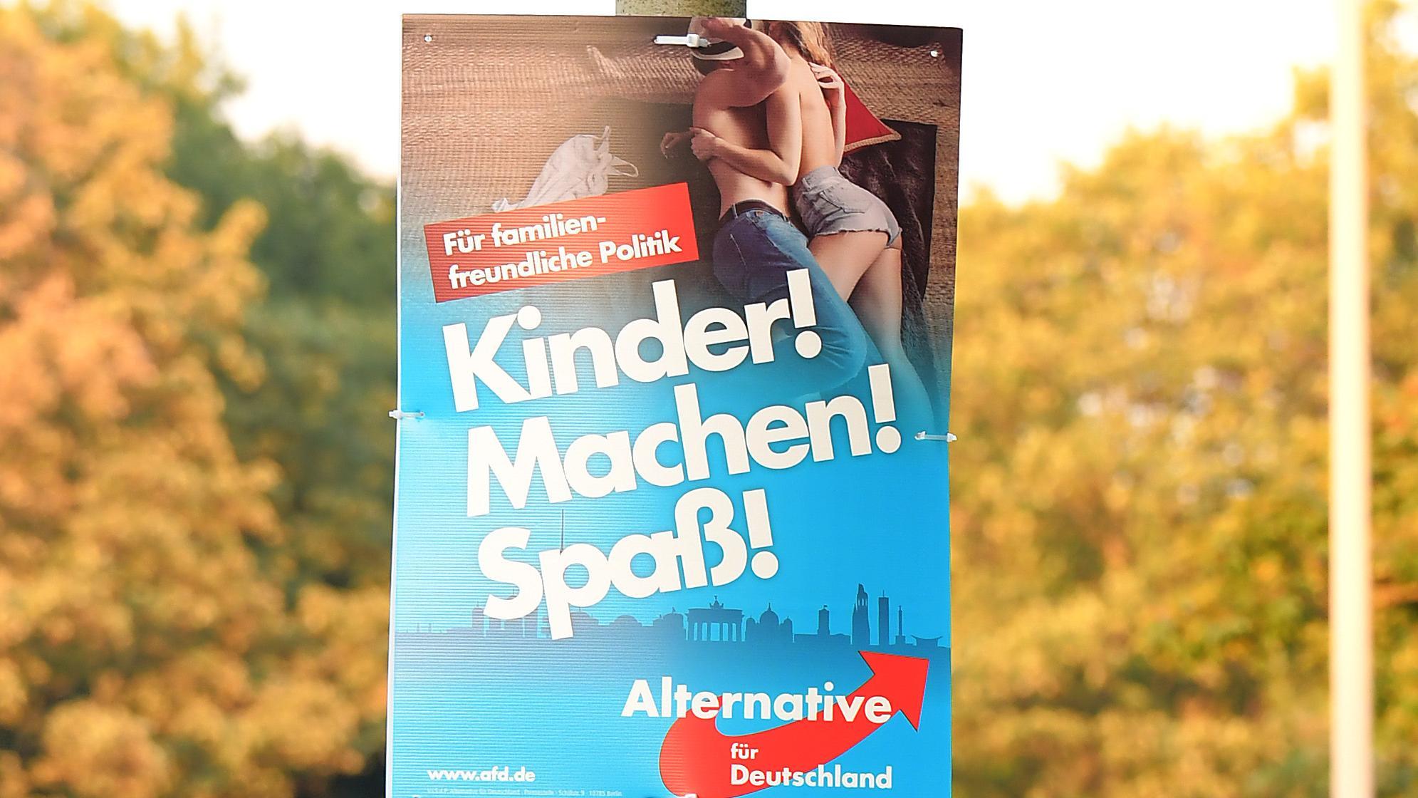 """AfD-Wahlplakat zur Bundestagwahl 2017: """"Kinder! Machen! Spaß!"""""""