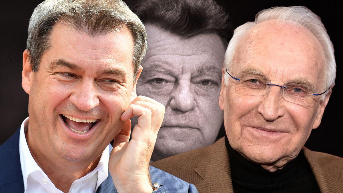 Die CSU-Politiker: Markus Söder, Franz Josef Strauß und Edmund Stoiber
