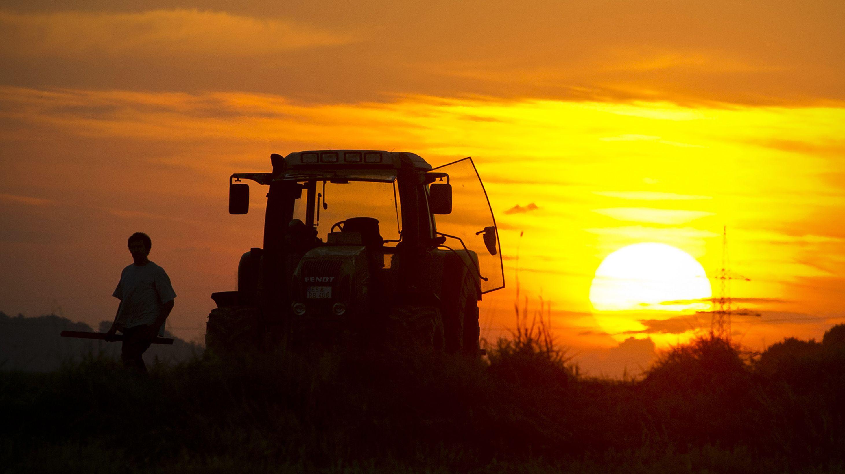 Bauer neben seinem Traktor auf dem Feld