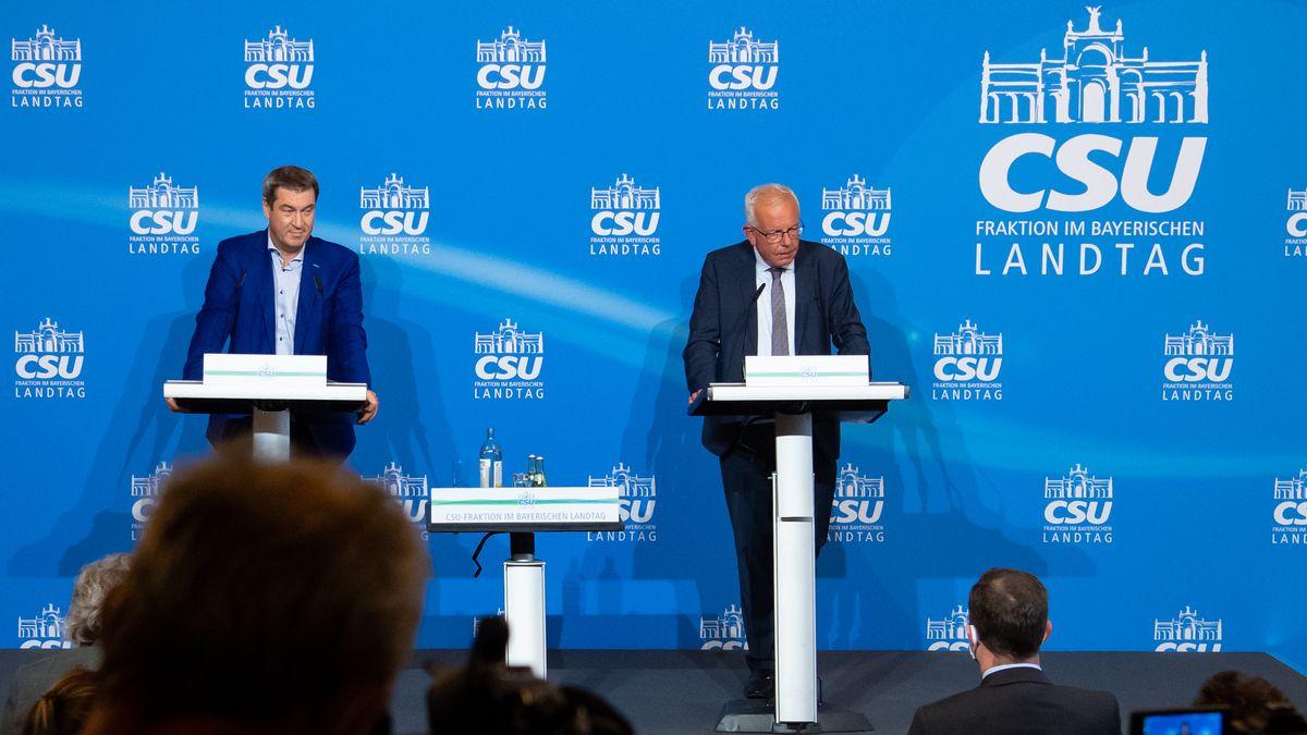 Ministerpräsident Söder (l.) und CSU-Fraktionschef Kreuzer (r.) bei der Herbstklausur der CSU-Landtagsfraktion am 16.09.20 in München