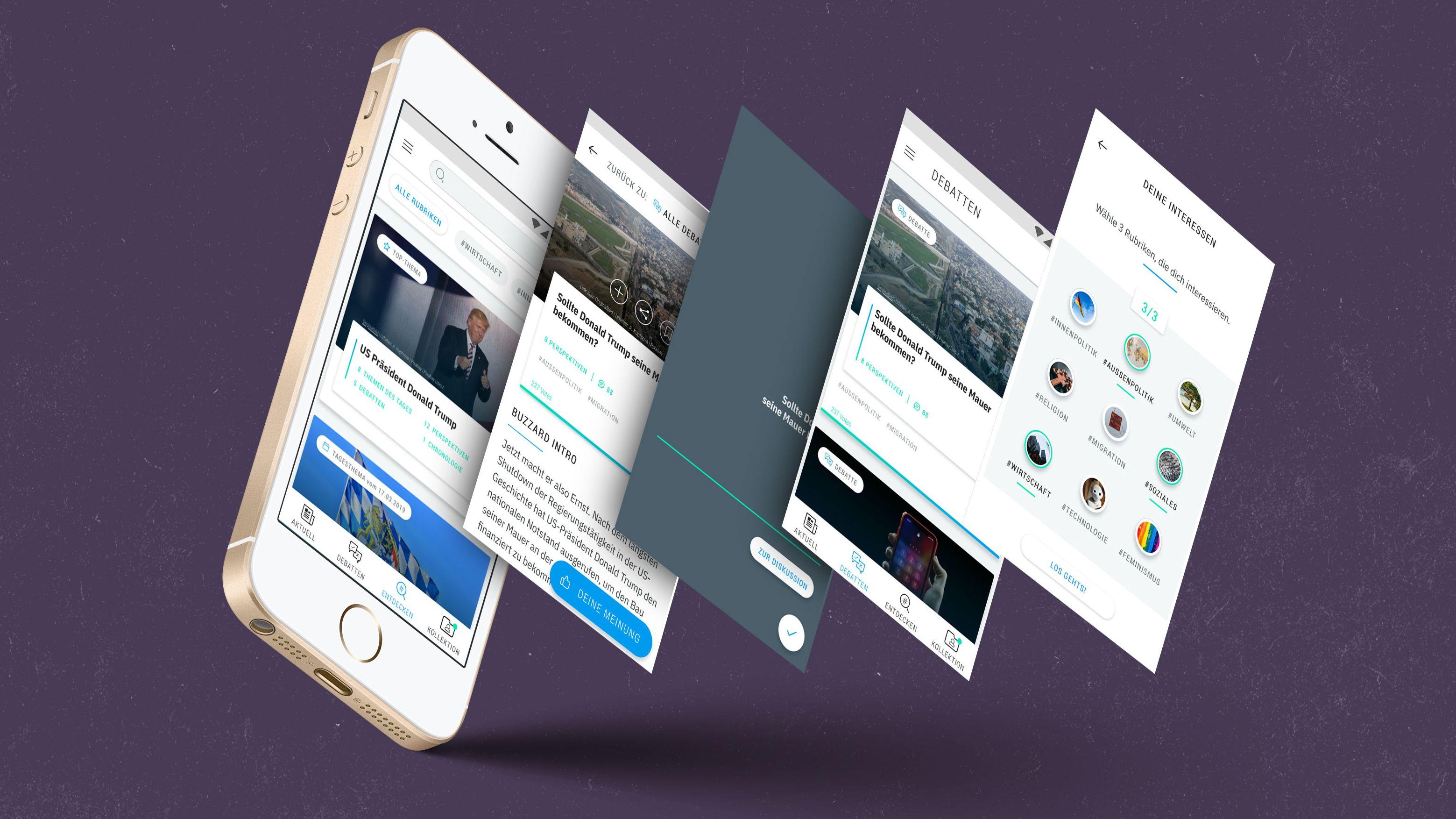 """So soll die neue Nachrichten-App Buzzard aussehen. Sie will ihren Nutzern """"kuratierten Qualitätsjournalismus"""" bieten."""