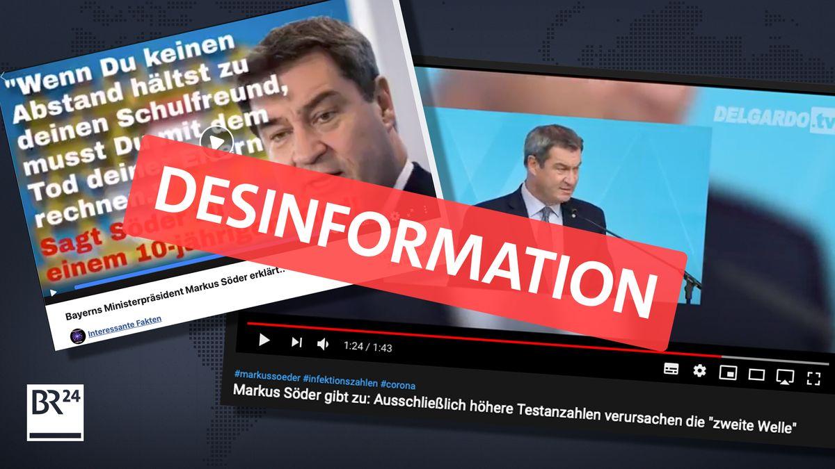 Erneute Kampagne gegen Markus Söder (CSU). Zwei Videos von Söder; eines mit einem falschen Zitat, eines mit einer falsch interpretierten Aussage Söders.