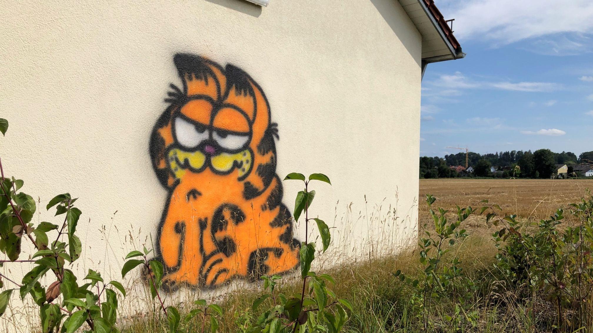 """Kater """"Garfield"""" in Orange an die Wand eines Schalthauses gesprayt."""