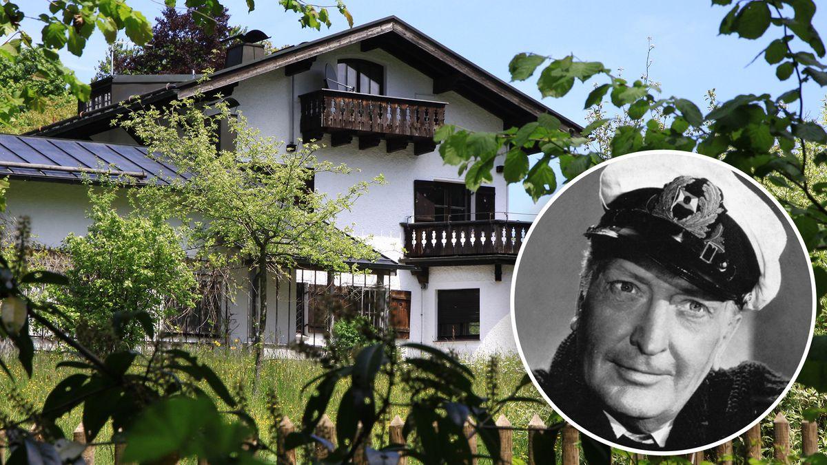 Hans-Albers-Villa am Starnberger See, davor ein Porträt des Schauspielers Hans Albers