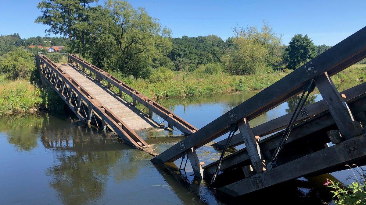 Die eingestürzte Regen-Brücke in Cham