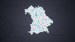 Symbolbild Bayernkarte mit Landkreisen | Bild:BR