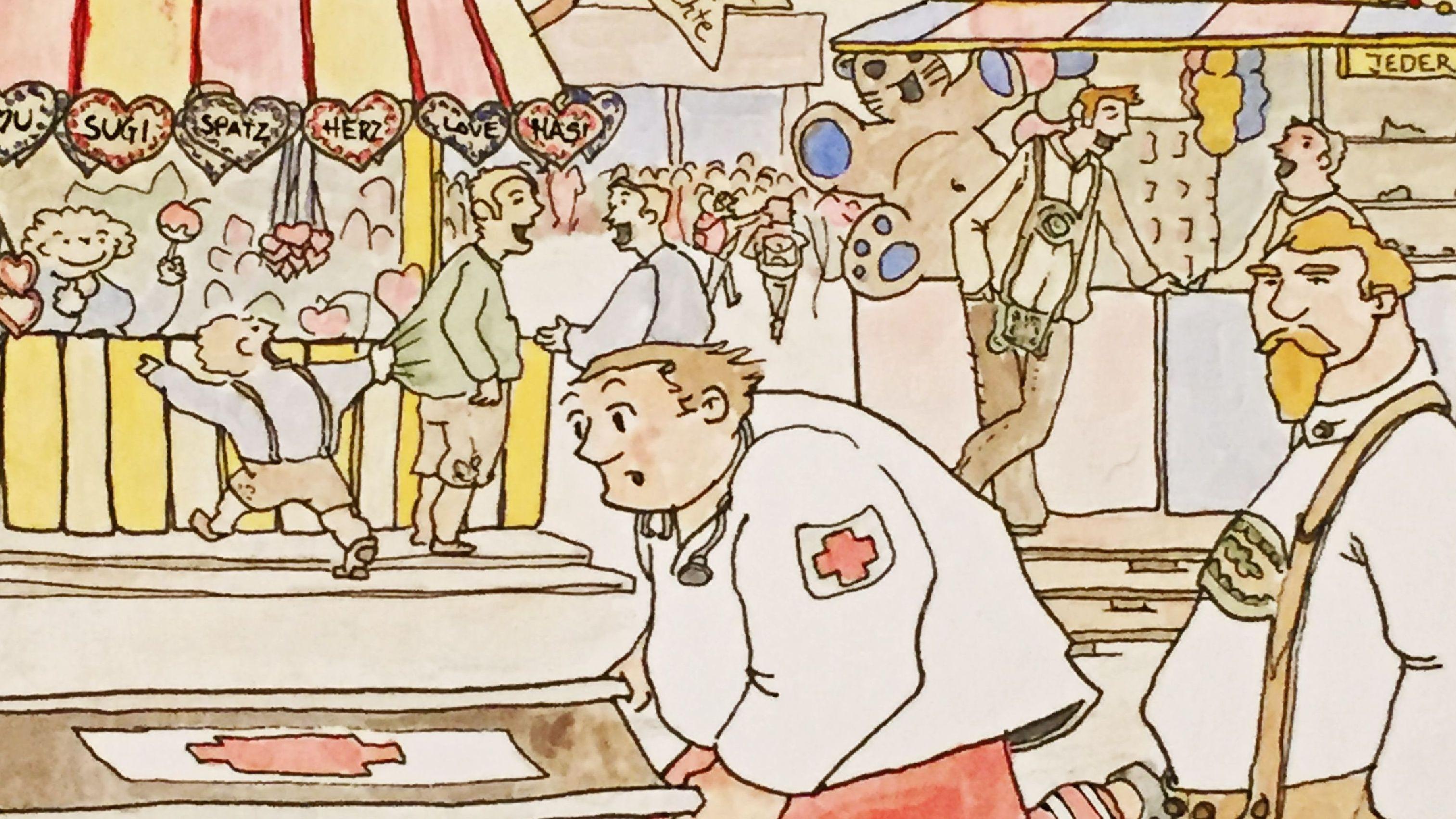 Sanitäter rennen durchs Wiesngewusel