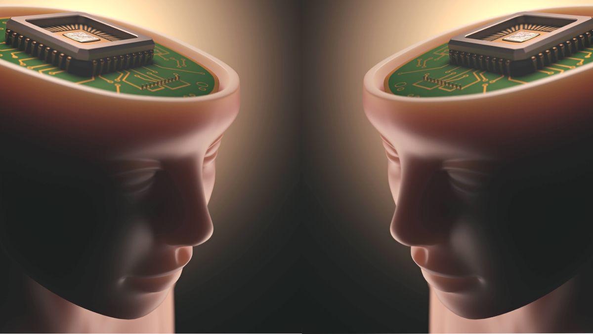 Symbolbild: Menschen mit offenem Kopf, anstelle des Gehirns sitzt dort eine Platine mit einem Computerchip