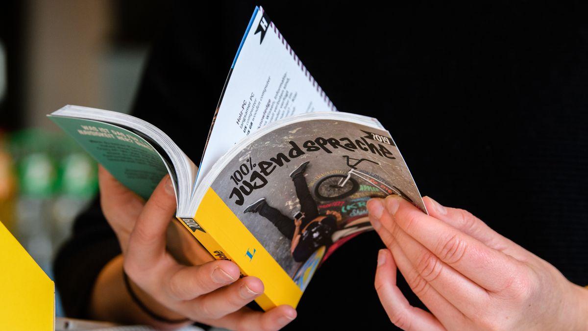 Frau blättert in Jugendsprache-Wörterbuch