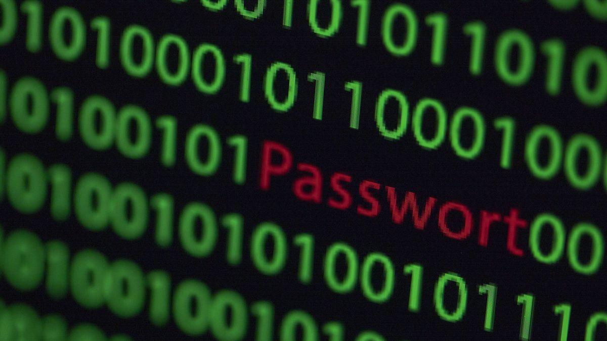 """Zwischen dem Binärcode auf einem Laptopmonitor ist das Wort """"gehackt"""" zu sehen."""