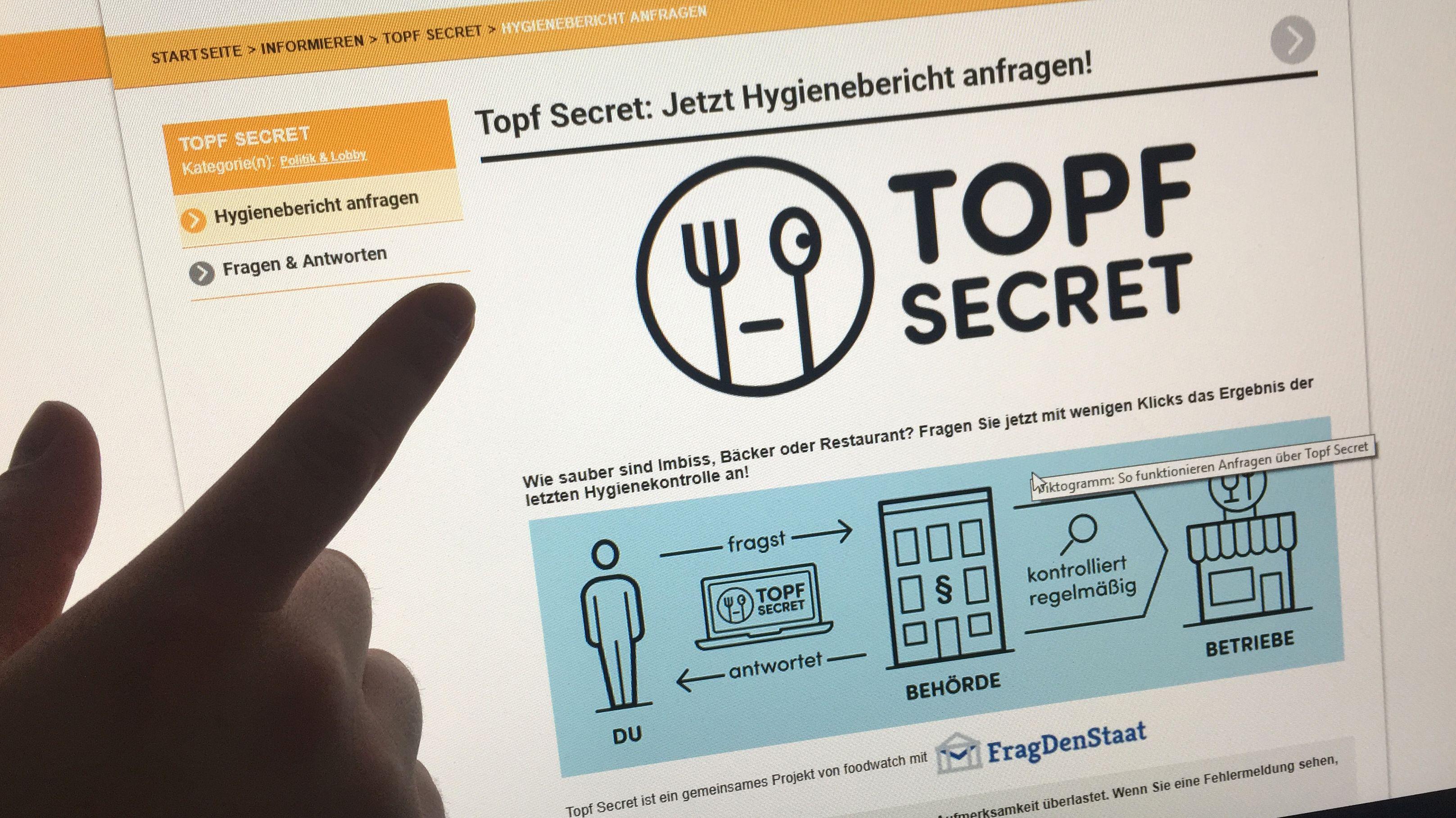 """Auf der Seite """"Topf Secret"""" sind Berichte zu Lebensmittel-Kontrollen in Restaurants, Bäckereien und anderen Lebensmittelbetrieben zugänglich"""