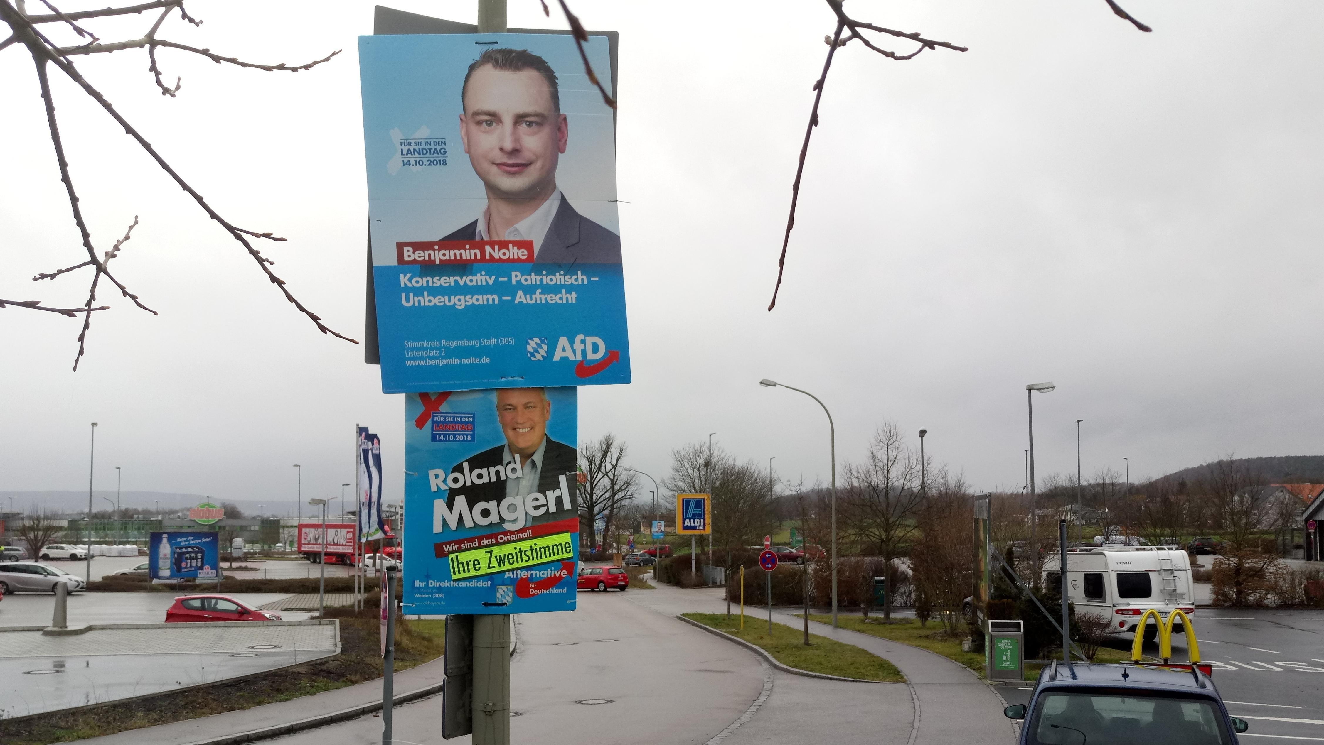 Nicht abgehängte AfD-Plakate von der Landtagswahl