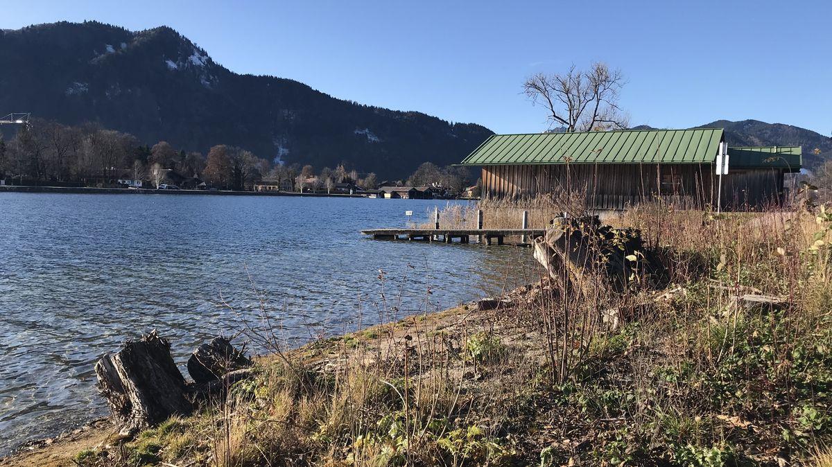 Ein Teil des abgeholzten Ufers an der Point am Tegernsee.