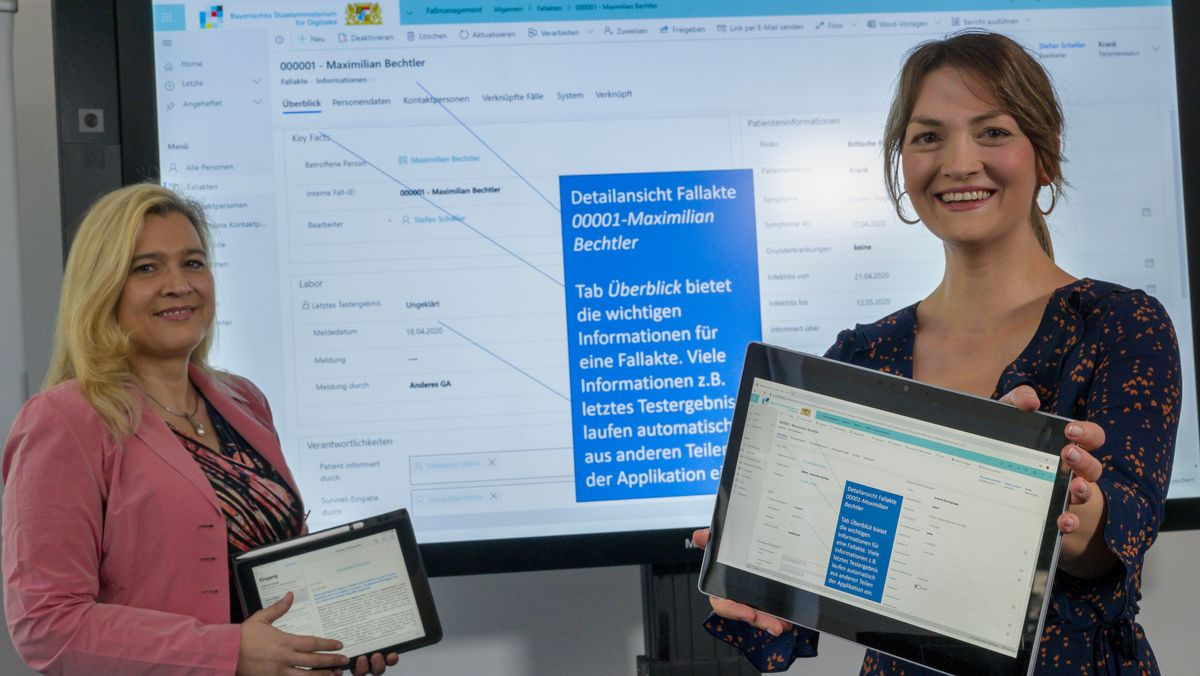 """23.04.20: Gesundheitsministerin Huml (l.) und Digitalministerin Gerlach bei der """"BaySIM""""-Vorstellung - nun soll eine andere Software kommen."""