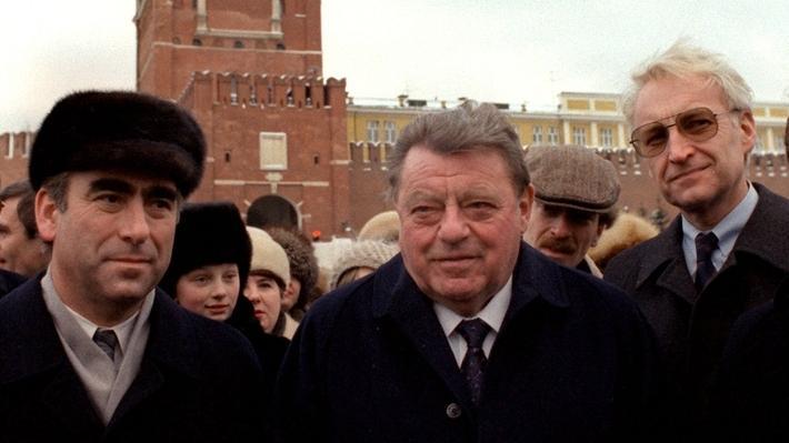 Theo Waigel, Franz Josef Strauß und Edmund Stoiber auf dem Roten Platz in Moskau