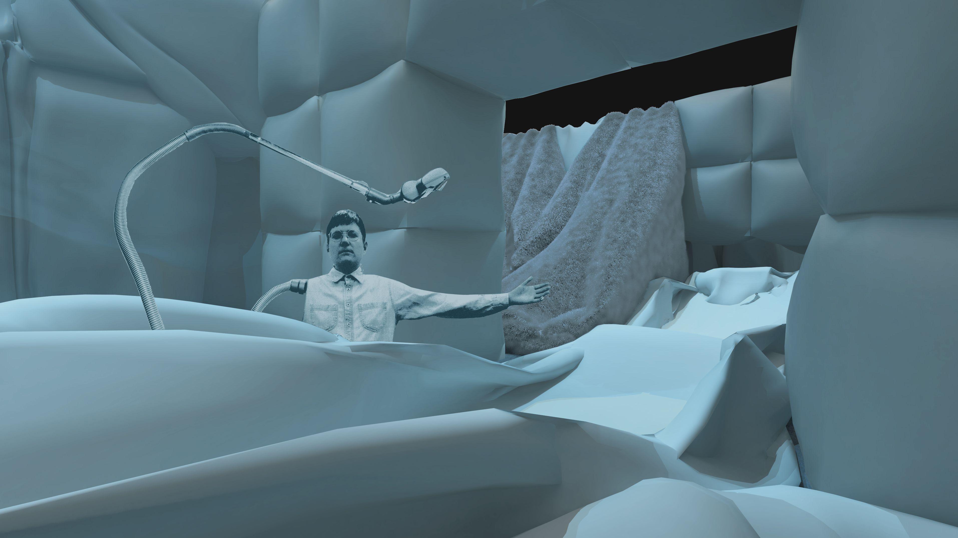 """Im Innern des Luftkissen-Parcours der """"Sensefactory"""": Man steht in einer weißen Luftkissen-Architektur (Computergrafik)"""
