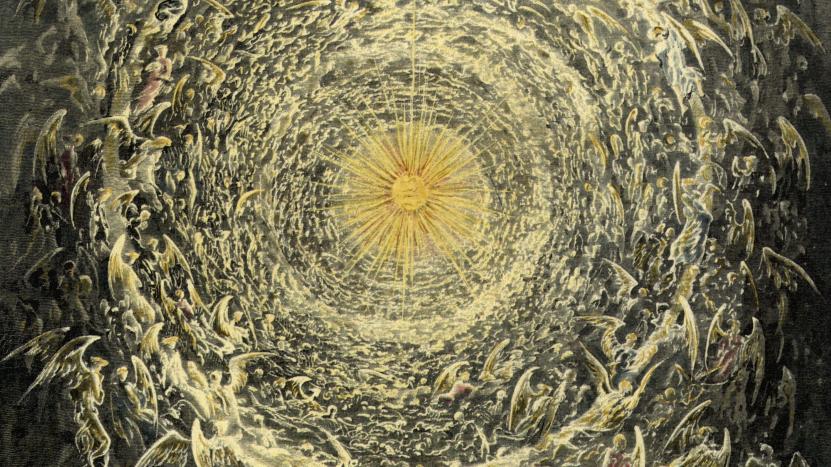 """Illustration zum Paradiso, 31.Gesang, Vers 1-3. - Holzstich nach Zeichng von Gustave Dore (1832-1883). Aus: Dante Alighieris """"Göttlicher Komödie"""""""